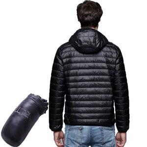 Image 2 - Для мужчин Мужские парки зимнее пуховое пальто Куртка–пуховик на 90% белом утином пуху Ultra Light Plus Размеры зимняя брендовая Пуховики и парки для мужчин Для мужчин Верхняя одежда с капюшоном, пальто