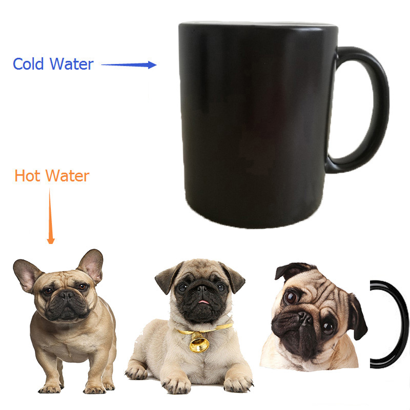 bulldog dogs puppy dogs mugs heat transfer change color Heat reveal mugs temperature color change travel heating