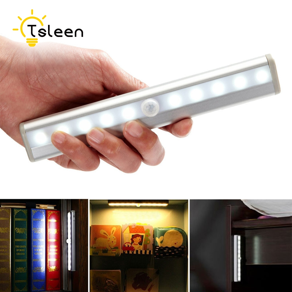 TSLEEN Cheap LED PIR Motion Sensor Night Light Wireless Closet Drawer Wall Garage Lamp Automatic Sensing For Corridor Cabinet