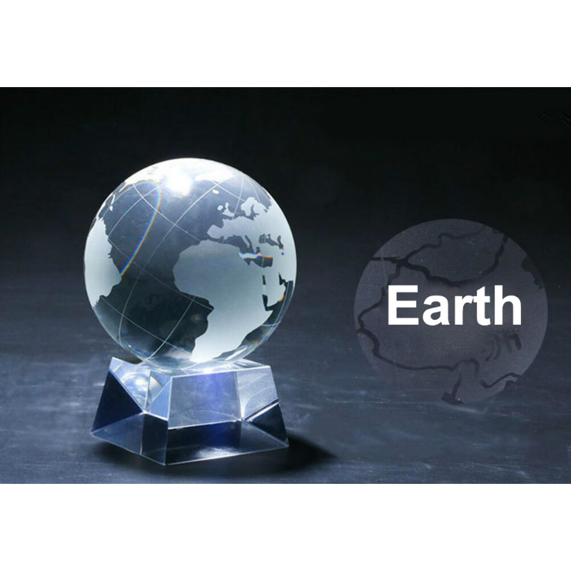 80mm Earth Transparent Crystal Ball Glowing/Not Shiny Creative Glass Crystal Crafts Feng Shui Lucky Ball Home Furnishing Jewelry