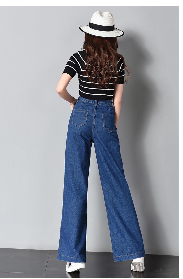 Vintage Wide Leg Jeans Big Pockrt Loose Washed High Waist Denim Pants 2018 Long Jeans for Women Pantalon Femme Light Dark Blue 10