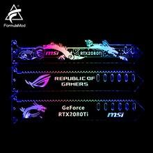 Fórmulas Fm QJD, RGB GPU bloque soportes acrílicos, placas decorativas soporte de GPU, iluminación de placa base sincronizable RGB de 5 v y 3 pines