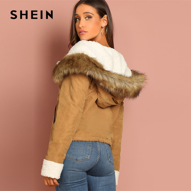SHEIN Khaki Casual Drawstring Hem Pocket Faux Fur Zipper Up Hooded Jacket Autumn Thermal Leisure Women Coat And Outerwear 2