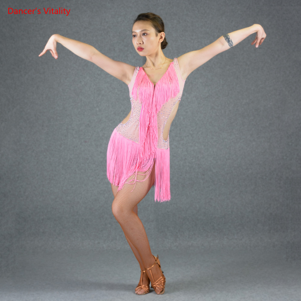 Custom Latin Dance Dresses Adult Female Dancing Stage Performance Competition Clothes Sexy Hollow Out Diamond Tassel Dress
