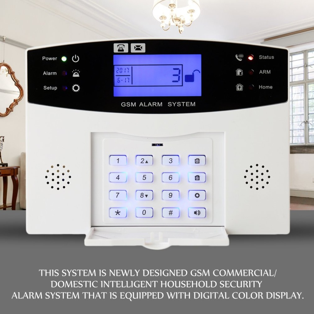 GSM Alarm Systems Kit Remote Control Voice Prompt Wireless Door Sensor LCD Display Siren Kit Security Alarm for Home Office voice prompt wireless door sensor home security gsm alarm systems tft display wired siren kit sim sms alarm metal remote control