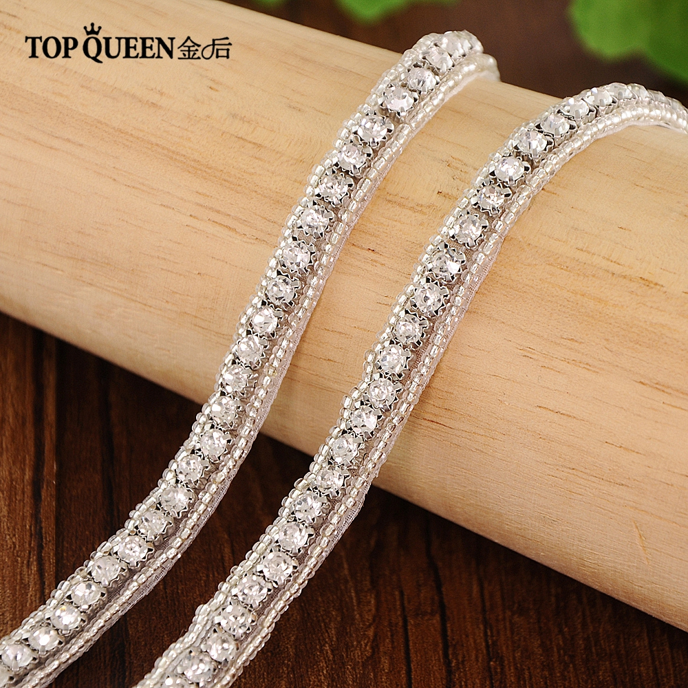 TOPQUEEN S217A Free Shipping Stock DIY Formal Wedding Crystal Bead Applique Evening Dresses Trimming Can Customize Any Size
