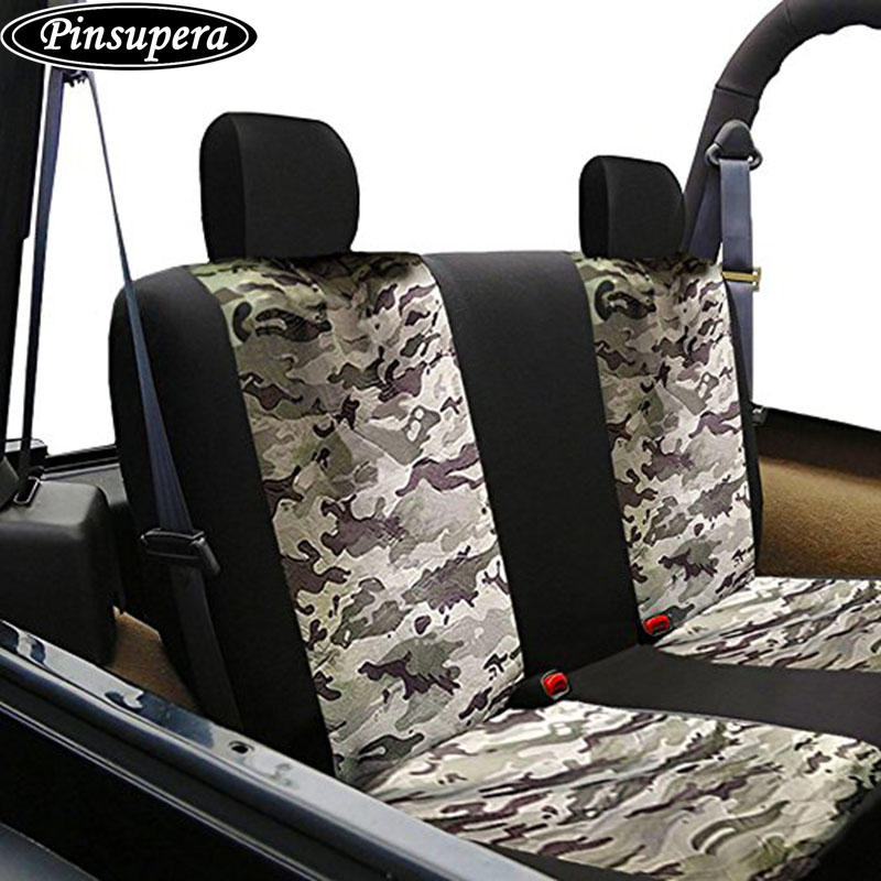 Universal Car Rear Seat Cover Safety Belts Access With Breathable Camouflage Mesh Back Bench Covers For Truck SUV In Automobiles From