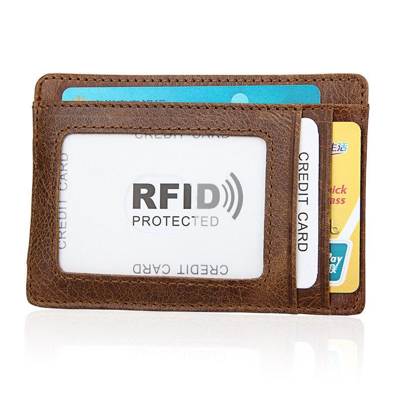 3PCS/Lot Wholesale Genuine Leather Men Fashion Thin Magnetic Money Clip Vintage Travel Wallets Business Card Case Coin Pocket