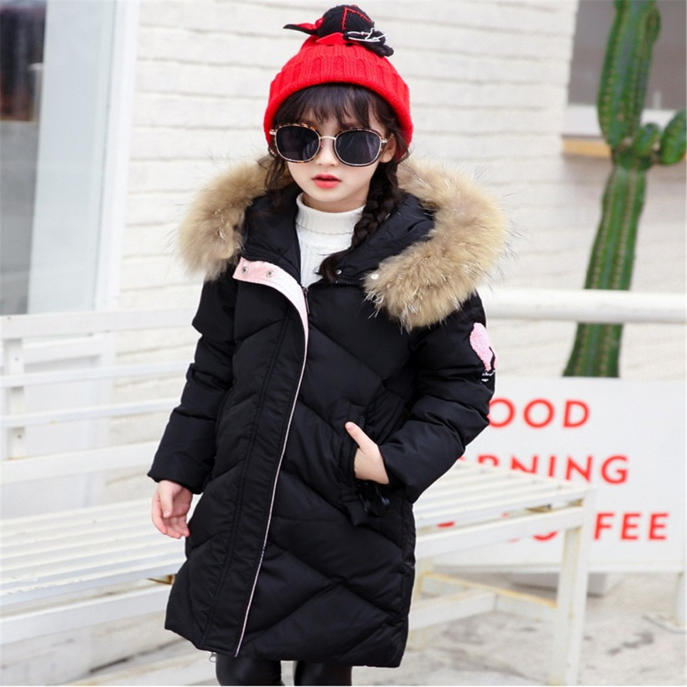 Kids Fashion Winter Outerwear Children Duck Down Jackets Thick Warm Long Model Hooded Fake Fur Girl Snow Wear Clothes Costume fashion girl thicken snowsuit winter jackets for girls children down coats outerwear warm hooded clothes big kids clothing gh236