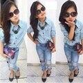2016 Nuevo Otoño Que Arropan Sistemas Azul t-shirt + Jeans Rasgados 2 UNIDS Traje vetement Enfant Fille Niño chicas Ropa niños Set
