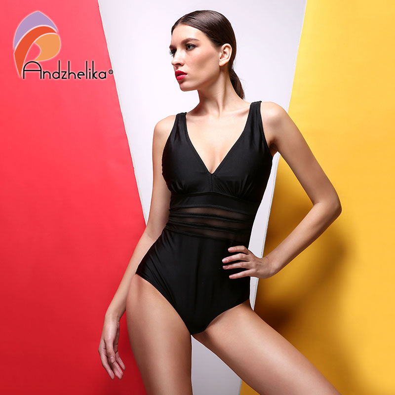 9e94b9fea9a Detail Feedback Questions about Andzhelika Vintage One Piece Swimsuit Women  Swimwear Sexy Deep V collar Mesh Solid Monokini Retro Bodysuit Suit Maillot  De ...