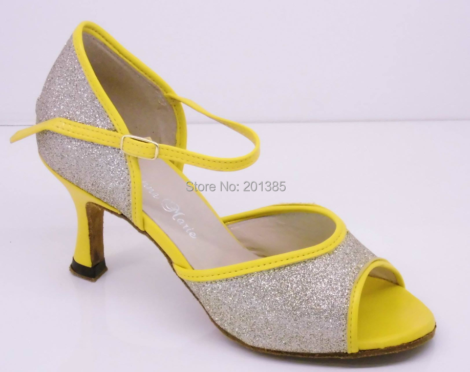Wholesale Ladies Girls Silver Glitter Yellow Leather Trim LATIN Ballroom Dance Shoes Salsa Tango Bachata Dance Shoes ALL Size