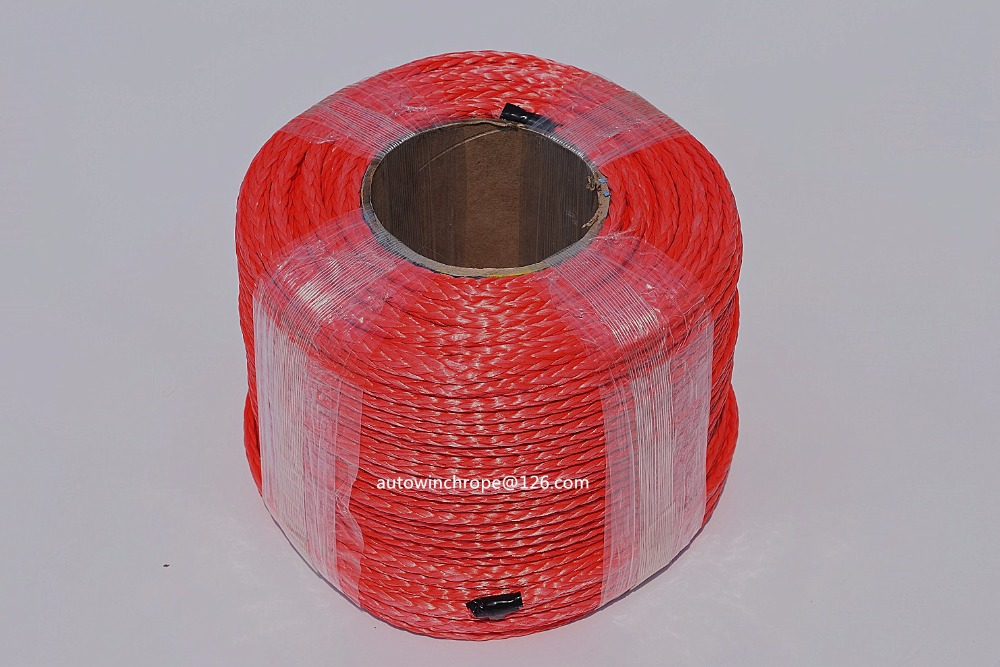 Free Shipping 6mm 100m Red Synthetic Winch Rope ATV Winch Line UHMWPE Rope Kevlar Winch Rope