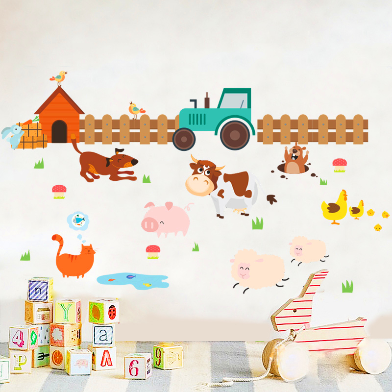 hardworking farm dog cat sheep cow wall stickers for kids rooms home decor cartoon animals wall decals art pvc posters diy mural image