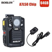 BOBLOV HD66 02 64GB HD 1296P كاميرا فيديو صغيرة 33MP الأمن الشرطة كاميرا يمكن حملها بالجسم مسجل فيديو للرؤية الليلية مع عدسة الأشعة تحت الحمراء الخارجية