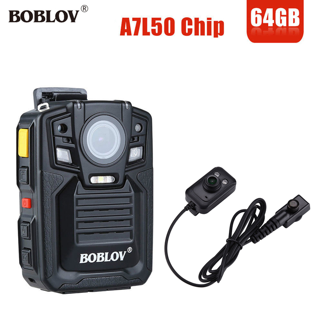 BOBLOV HD66-02 64GB HD 1296P Mini Camcorder 33MP Security Police Body Camera Night Vision Video Recorder With IR External Lens