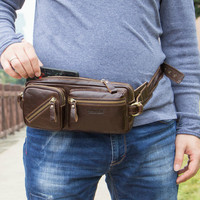 Vintage Luxury Leather Fanny Pack Waist Bag Casual Waterproof Antitheft Men Walking Shopping Band Belt Multi function Bag