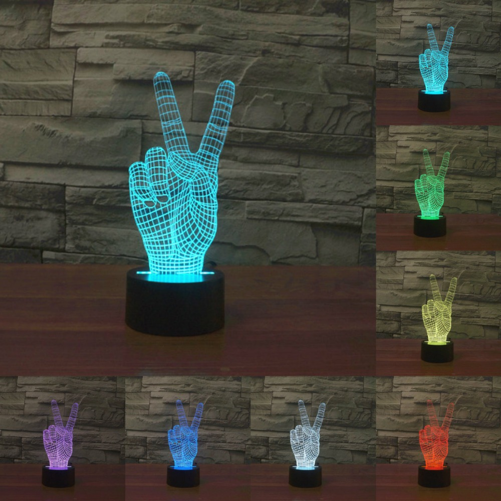 3D Acrylic 3D Victory sign Light Decor Bulbing Night Light Lamp Gadget LED Lighting Home Bedside