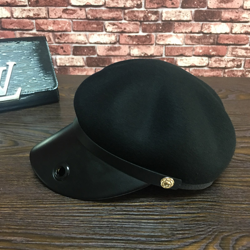 Leather stitching wool black street cool dome baseball caps for women wool felt cowboy hat stetson black 50cm