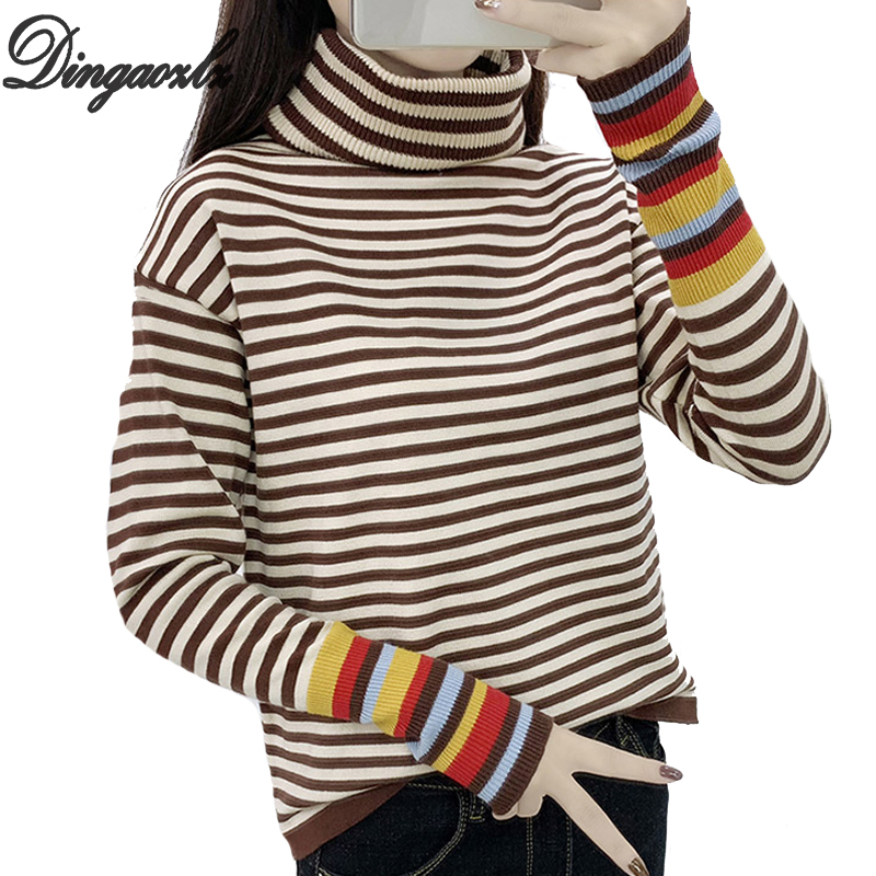 Striped Lunga Di Femminile White Coreano Maglia Dingaozlz Yf67bgy