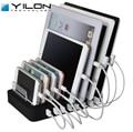 YILON 8 Portas Estação De Carregamento De Desktop 8 * 2.4A Multi Rápida Carregador USB Dock Station Com Suporte adaptador De Energia para família Escritório