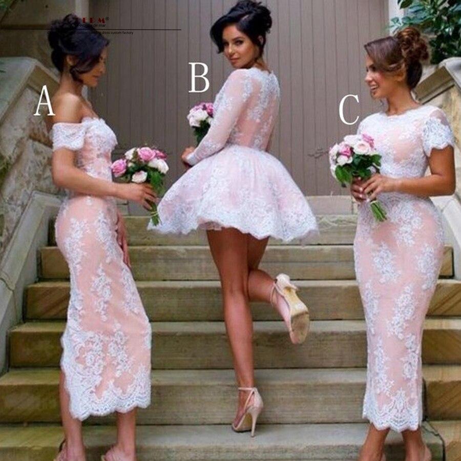 Robe de mariage demoiselles d honneur tuang 2017 Perahu Leher lengan  panjang Ankle length sexy mermaid 3 gaya putih bridesmaid gaun di Bridesmaid  Dresses ... 68d60d66d6a9