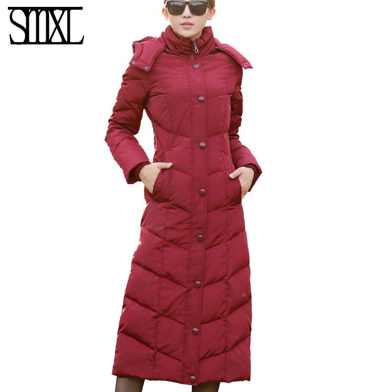 new plus size Coat Ultra keep warm white Duck Down Jacket x-Long Female Overcoat Slim Solid Jackets Winter Coats Parkas Padded winter keep warm thicken women s cotton slim long coat hooded parka jackets coats white overcoat plus size down parkas clothes