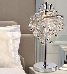 Prosta lampa kryształowa K9 lampka nocna do ogrzania sypialni dekoracja salonu ślubna kreatywna lampa stołowa ZA SJ40
