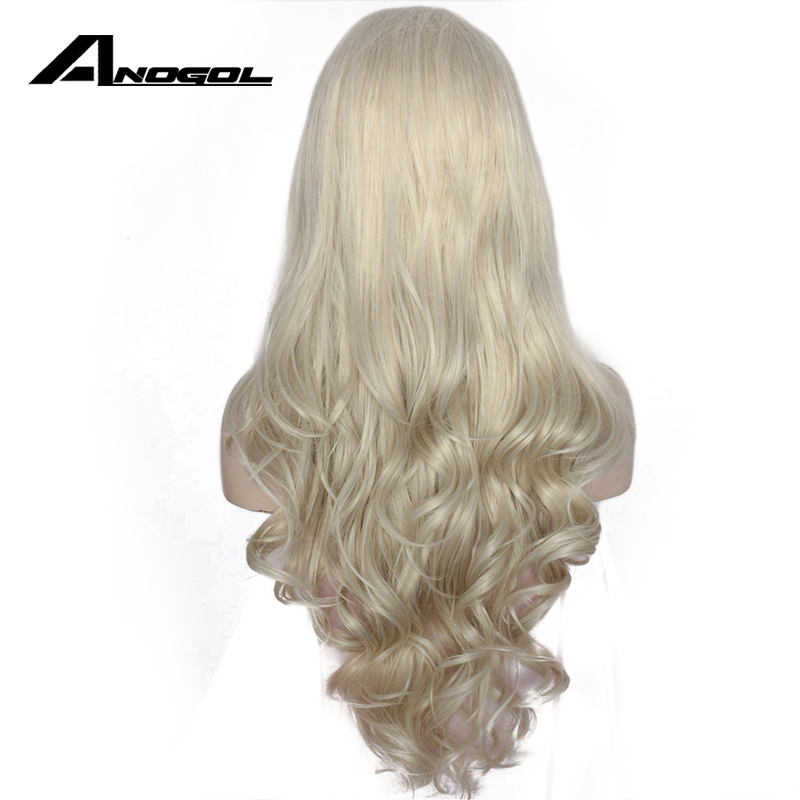 Anogol High Temperature Fiber Frontal Full Hair Wigs Long Body Wave Platinum Blonde Synthetic Lace Front Wig For Women Costume