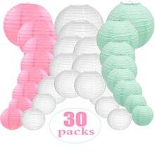 """30 個 4 """" 12"""" ホワイトピンクミントグリーンペーパーランタン中国ラウンド混合サイズ lanterne 張り子 lampion 結婚式屋外装飾"""