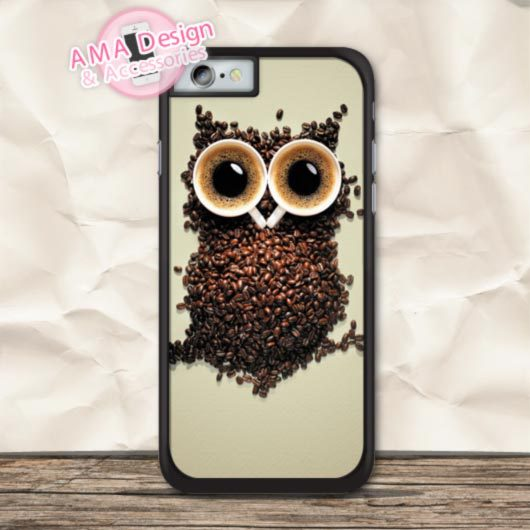 Lovely Owl Combined With Coffee Beans Case For iPhone X 8 7 6 6s Plus 5 5s SE 5c 4 4s For iPod Touch