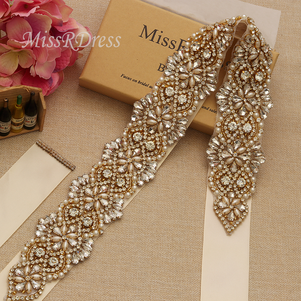 MissRDress Hand Beaded Wedding Dress Sash Belt Gold Crystal Beads Rhinestones Bridal Sash Belt For Wedding Long Dresses YS811