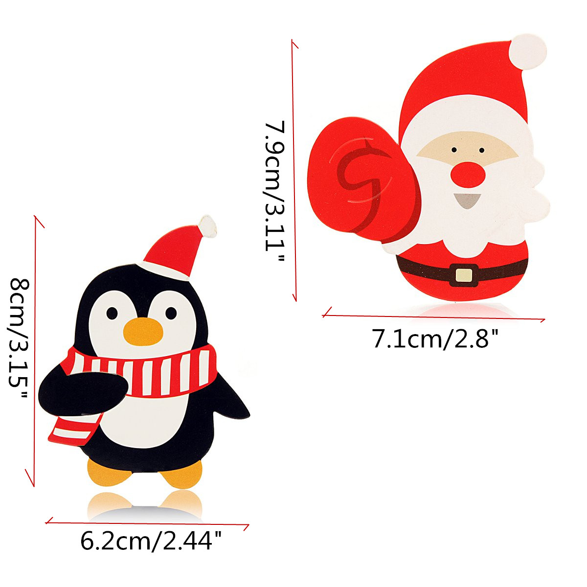 50Pcs/Lot Xmas Lollipop Decor Paper Card Santa Claus Penguin Patterns Candy Decor Holder Christmas Party Kids Favor Gifts