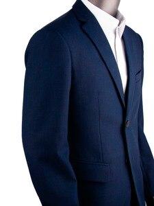 Image 5 - 紺くぎの頭ビジネス男性スーツカスタムメイドスリムフィットウールブレンド鳥の目の結婚式のスーツ、テーラーメイド新郎スーツ