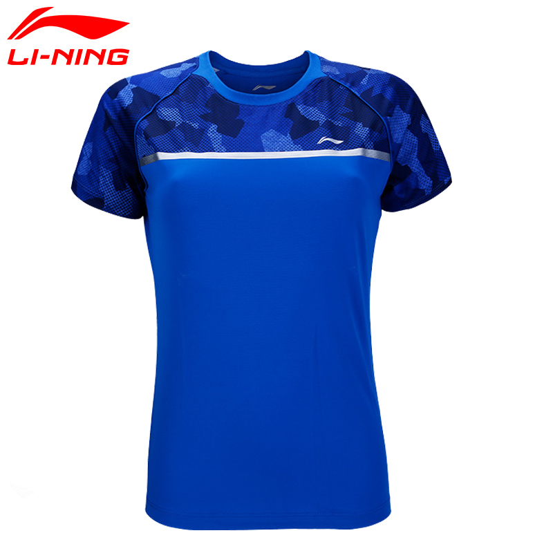 Li-Ning Для женщин Бадминтон конкурс футболка в сухом дышащая подкладка комфорт Спортивная футболка aayn034 wts1371