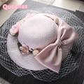 Мода Розовый Свадебные Шляпы И Fascinators Для Невесты 30 СМ Большой милый Стиль Цветочные Кружева Вуаль Котелок Женщины Банкетный Партийные головные уборы
