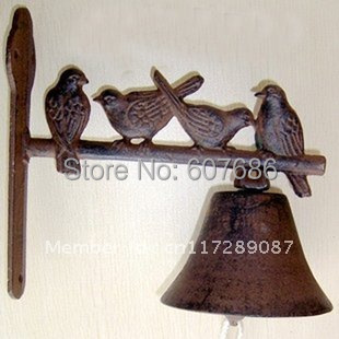 2 Pieces Rustic Cast Iron Welcome Dinner Bell ~ Birds On Perch ~ Wall Mount Hanging Door Bell Primitive Brown Bell Free Shipping