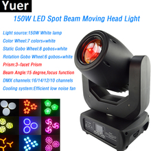 150W LED Beam Spot Moving Head Light White led Lamp 3-facet prism beam color&gobo wheel DMX512 disco Show Stage Light dj light цены онлайн