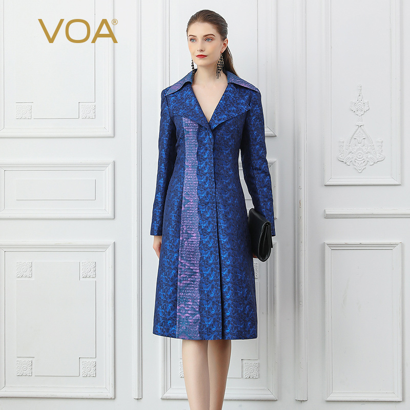 VOA Elegant Long   Trench   Coat For Women Autumn Female 100% Silk Windbreaker Women's Clothing Ladies Outwear casaco feminino F357