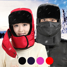 Winter Warm Earflap Bomber Hats Caps Scarf Men Women Russian Trapper Thermal Hat Trooper Snow Ski Cap Anti Cold