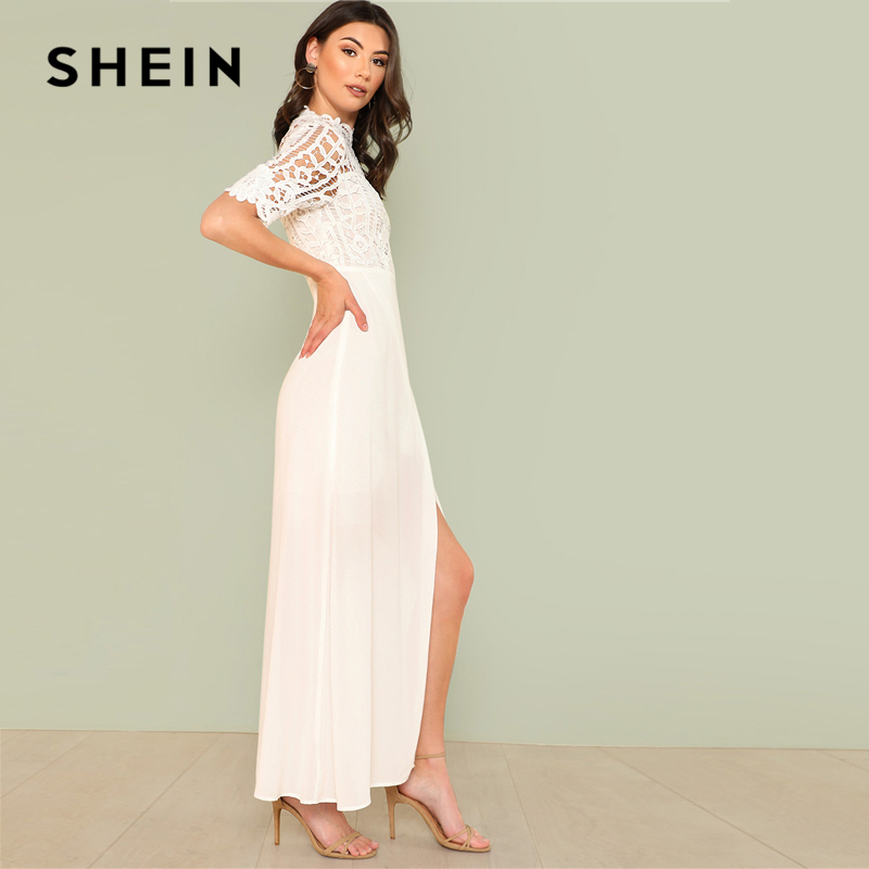 ce8869d0f8 SHEIN White Elegant Plain Stand Collar Short Sleeve Contrast Lace Wrap  Zipper Split Maxi Dress Summer Women Party Long Dresses-in Dresses from  Women s ...
