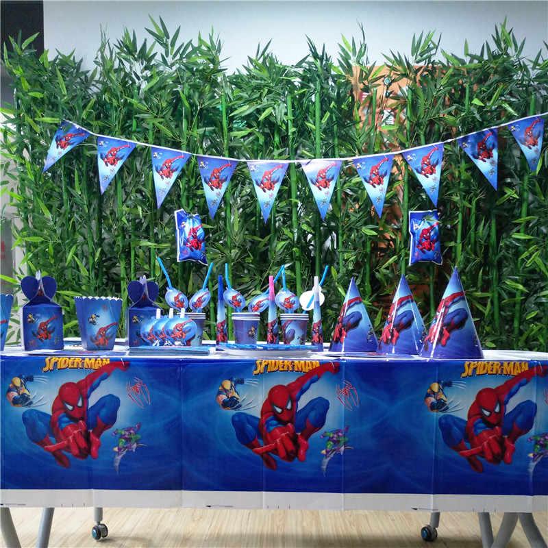 Disney Người Nhện Siêu Anh Hùng Ly Ống Hút mặt nạ Trẻ Em Bé Trai nhân Spider man Sinh Nhật Trang Trí Dự Tiệc Cung Cấp Trang Trí Ủng Hộ Bộ
