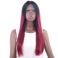 CHOCOLATE Remy Lace Front Human Hair Wigs For Black Women 100 percent Long Silky Straight Hair Wigs Ombre Color Black/Red 18inch