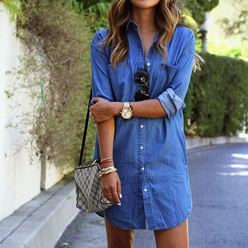 2019 New Product Women's Spring Long Sleeve Casual Denim Blouse Tops Shirt with Pockets