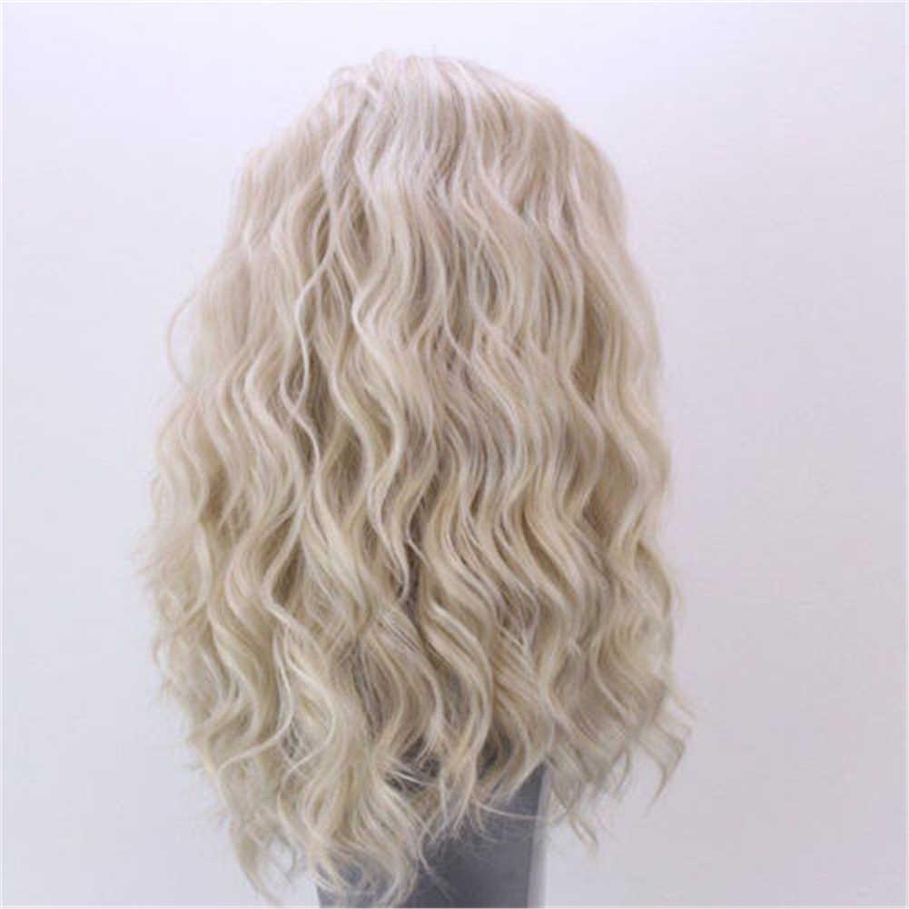 24 дюйма Для женщин волнистый парик золотистый блондин леди со шнуровкой спереди кудрявый синтетический парик, заколки, заколки для волос, трессы, заколки, полный цвет