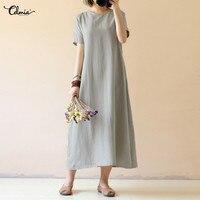 Vestidos Celmia Summer Dress 2018 Women O Neck Short Sleeve Dress Casual Loose Retro Solid Cotton