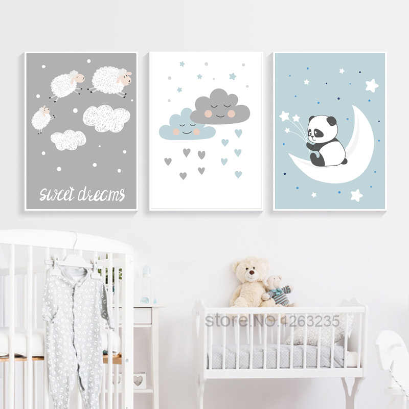 Baby Room Home Decor Cartoon Cute Panda Sheep Wall Pictures For Living Room White Clouds Nordic Poster Nursery Cuadros Unframed