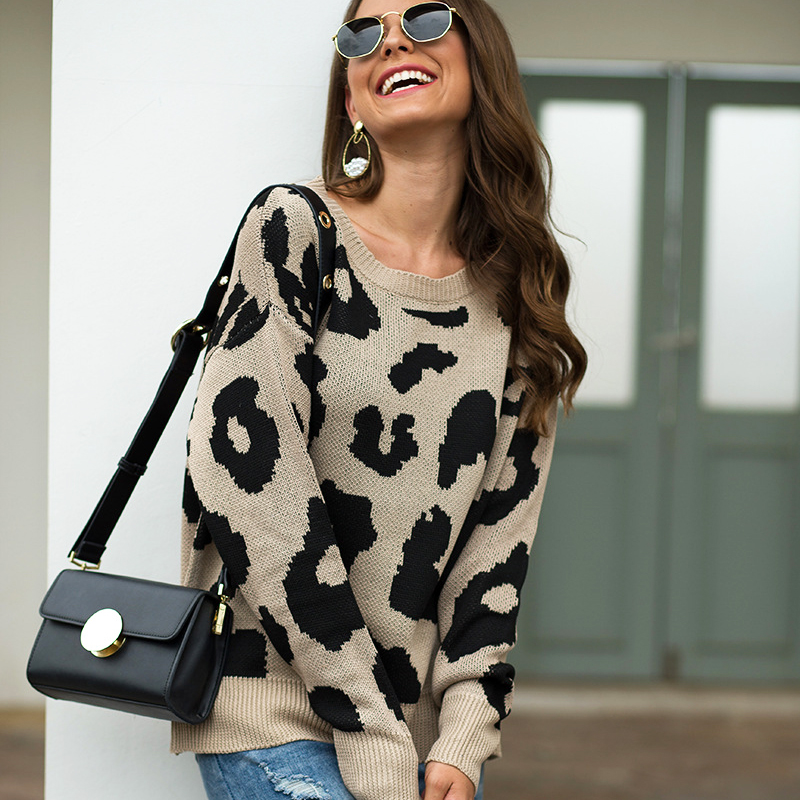 4 Color Leopard  Lady Sweaters Women Autumn Winter Pullovers Jumpers Female Knitted Loose Warm Printed Sweaters 2019 Mujer Pull