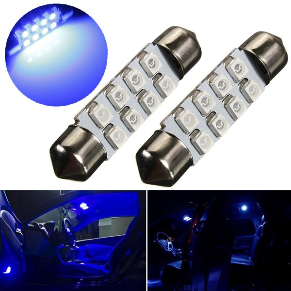 Best Price 39mm 8 LED 3528 1210 SMD Blue Car Auto Interior Dome Festoon Reading Map Door Lights Lamp Bulb DC12V