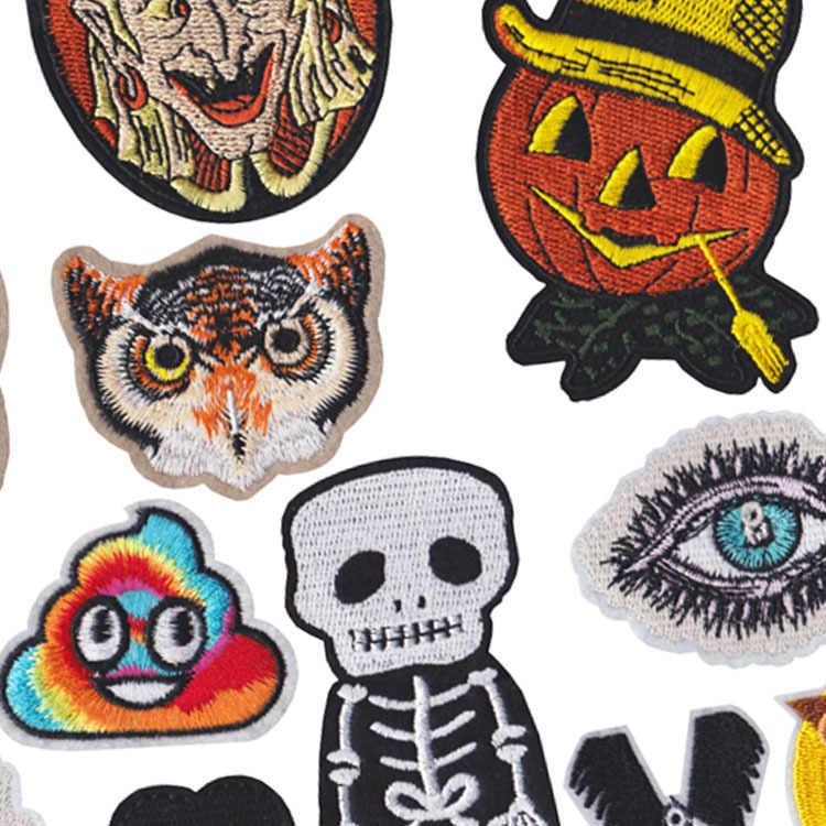 Halloween Kombinasi Labu Penyihir Burung Hantu Bordir Patch Bordiran Cute Kain Lencana Pakaian Diy Aksesoris Pakaian Lencana